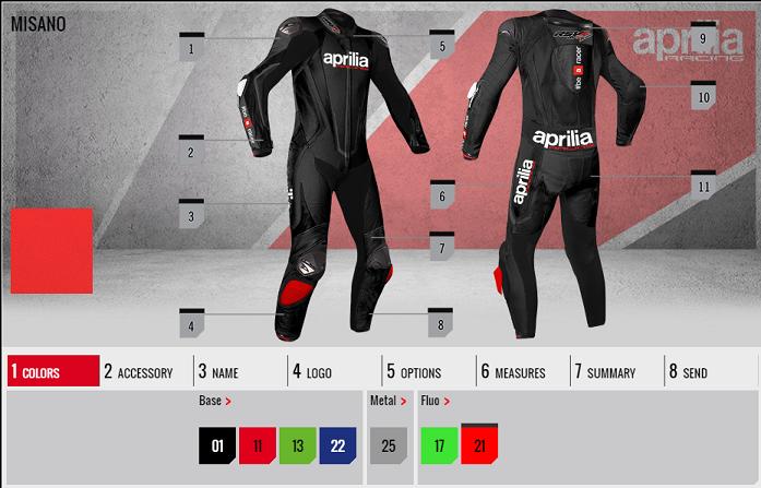 Aprilia Racing Suit configarator